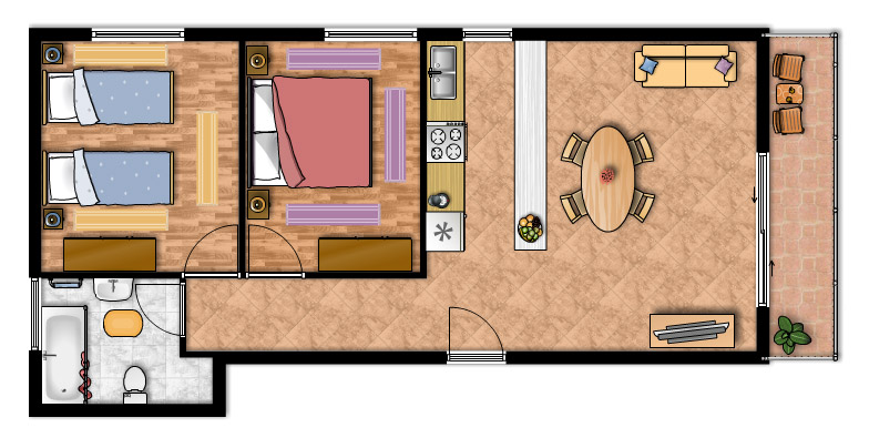 Appartamento m2 appartamenti m i vodice alloggi for Disegnare una piantina di casa